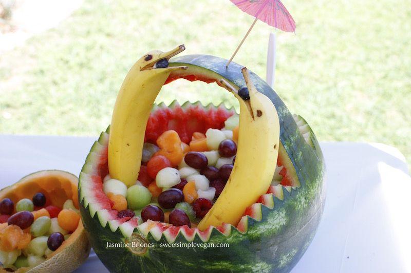 Banana Dolphins!  Birthday Bananaza Fruitluck: Heathy Raw Vegan Party Ideas!