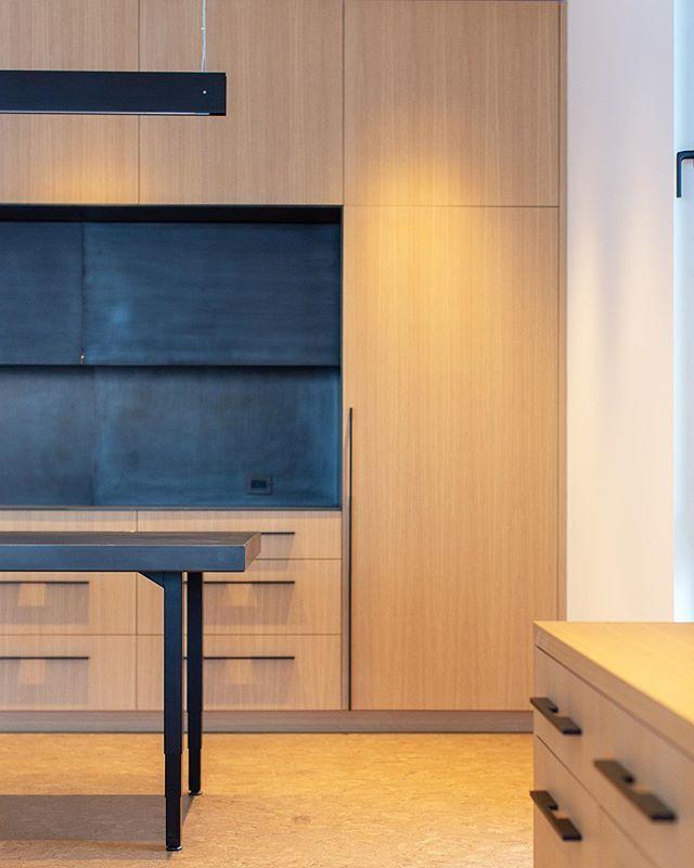 Custom Homeoffice Desk: Blackened Steel Cabinets And Desk Top #bauermetal