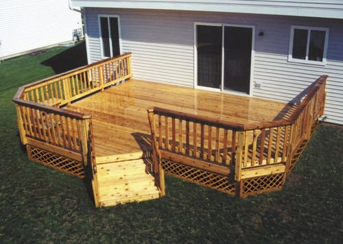 16 X 20 Attached Leisure Deck With Unique Angled Stairs Patio Deck Designs Deck Design Deck