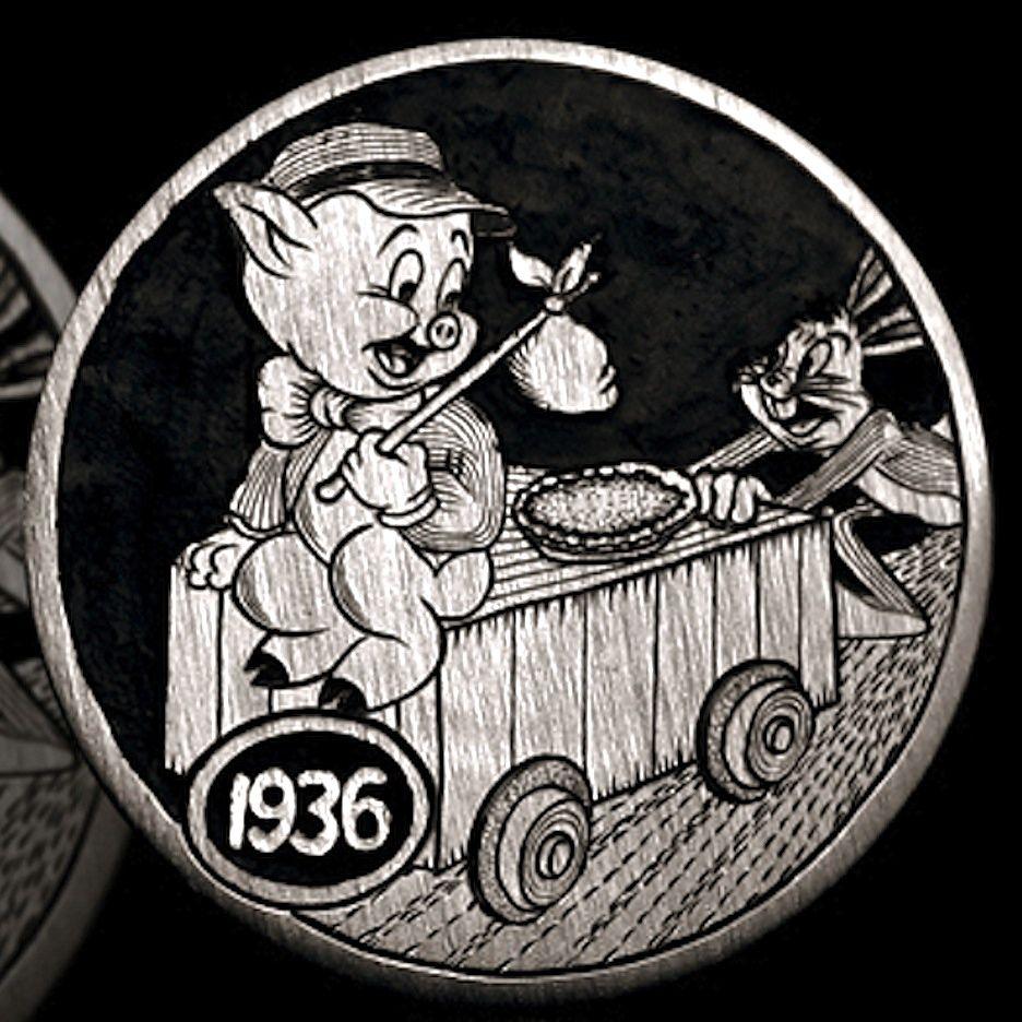 Andy Gonzales Hobo Nickel Porky And Bugs 1936 Buffalo Nickel