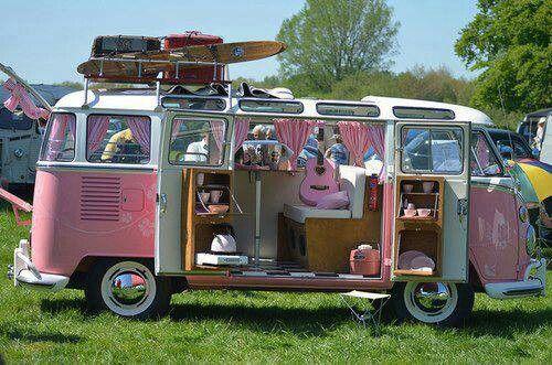 Pink Vw Van Vintage Vw Camper Vw Hippie Van Pink Car