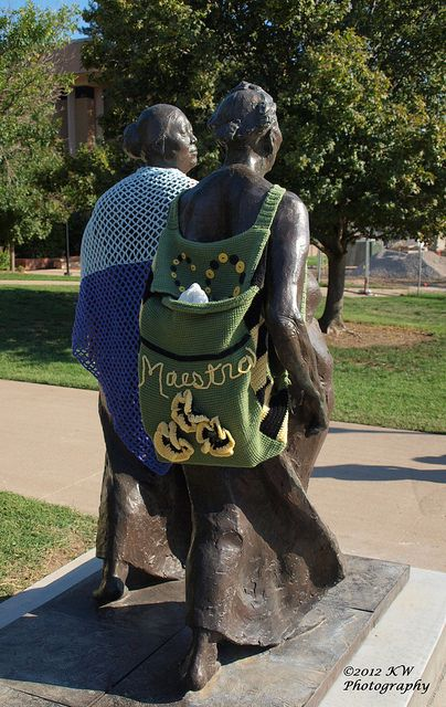 yarn bombed on the campus of Wichita State University