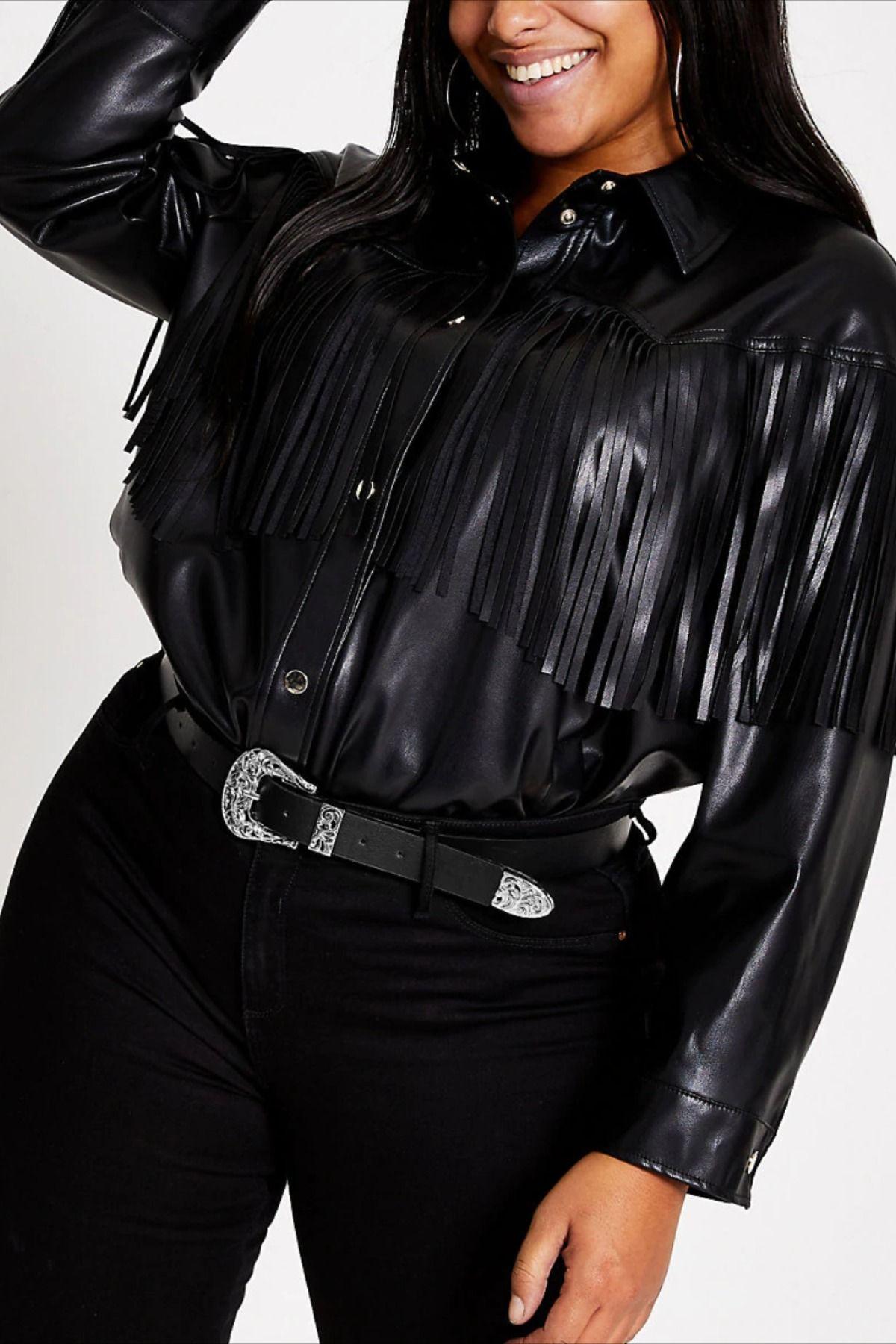 Plus Black Faux Leather Fringe Shirt Jacket Fringe Leather Jacket Curvy Outfits Womens Tops [ 1800 x 1200 Pixel ]
