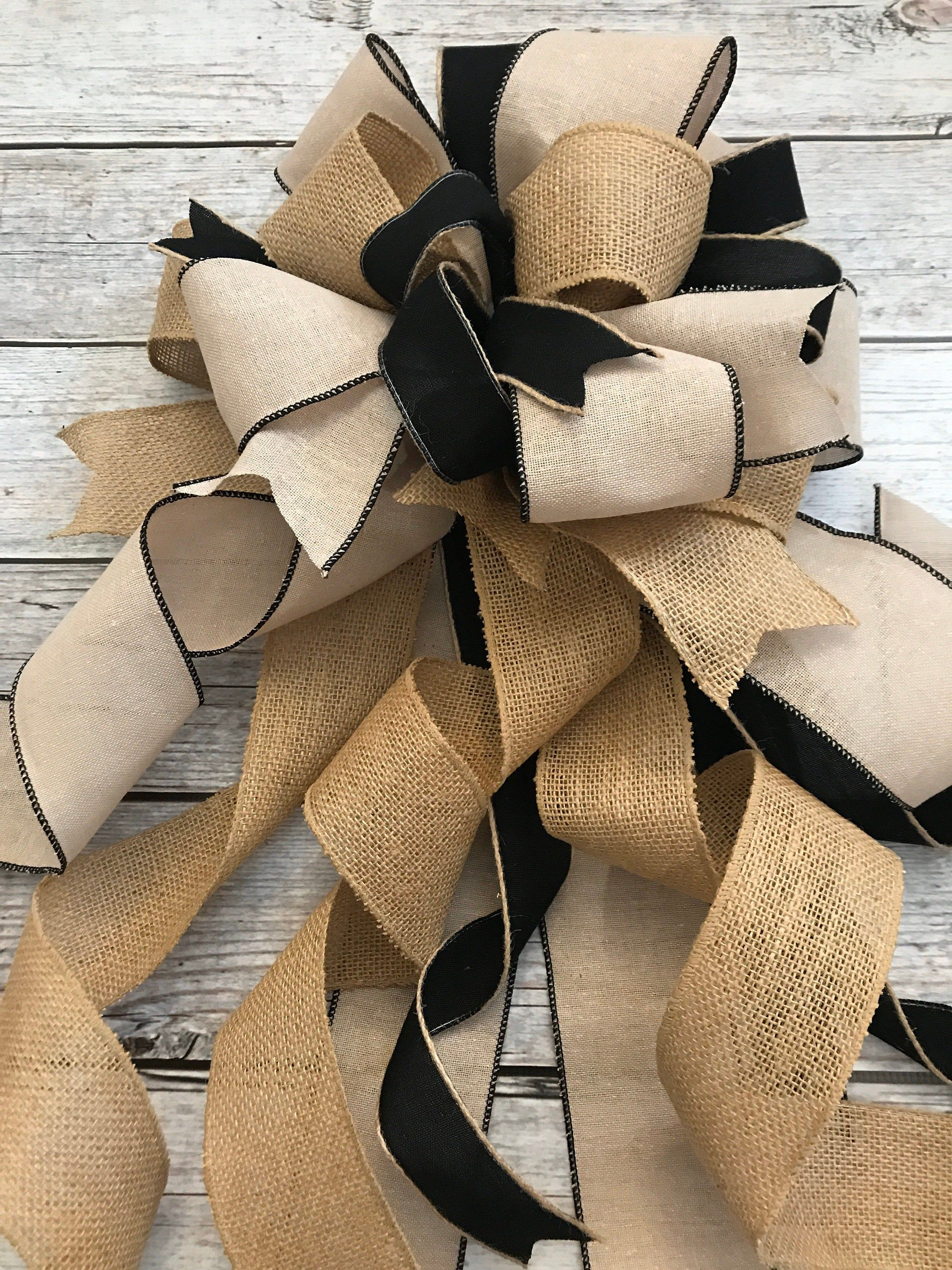 Burlap and Black Christmas Tree Topper bowWreath BowSwag | Etsy -   14 rustic christmas tree topper burlap bows ideas