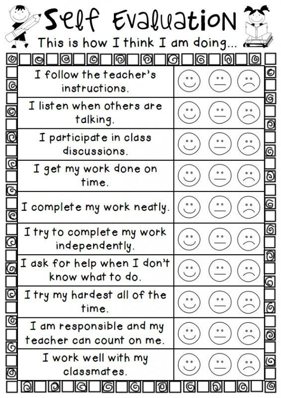 An easy personal self evalution sheet for students to use for