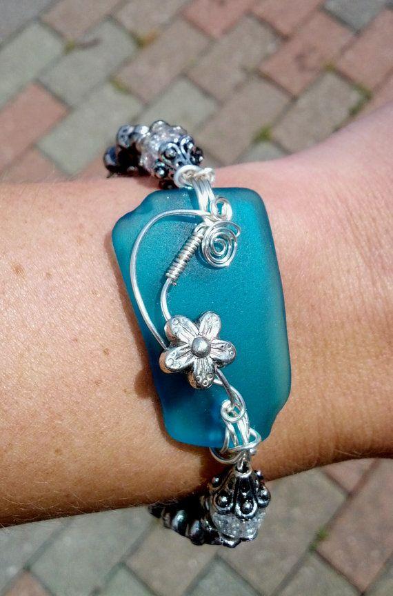 Striking Aqua Blue Sea Glass Bracelet with by GreyStreetCharm,