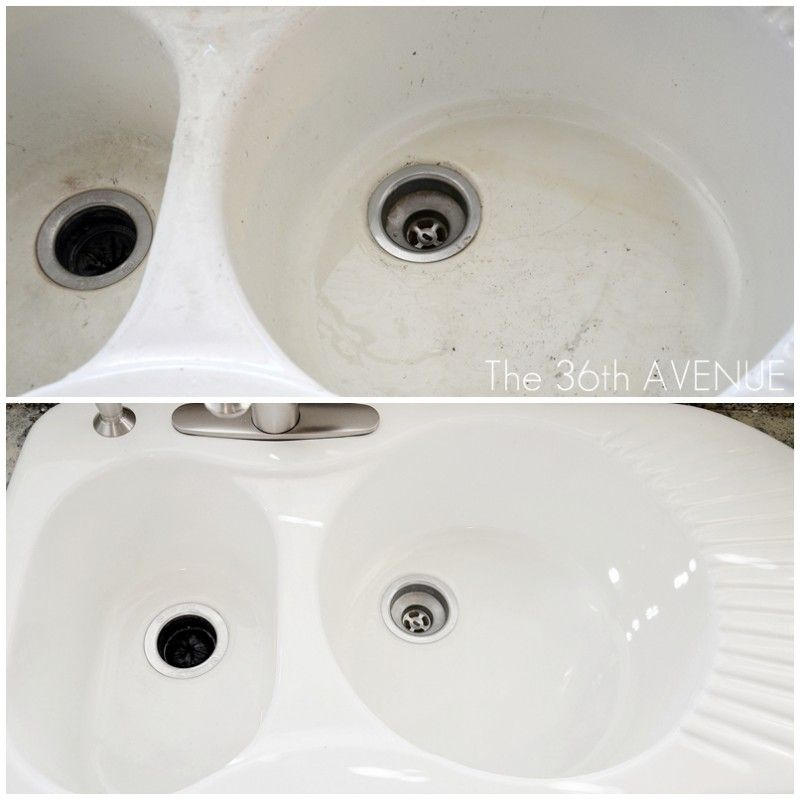 How to get the sink bright white again - soap, then spray bleach, then Bar Keepers Friend (Home Depot, Lowes, etc.) - awesome results!