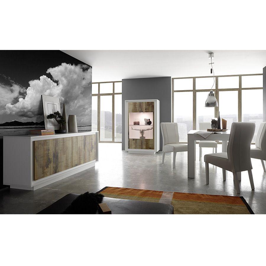 Salle à manger complète blanc laqué mat et couleur bois ...