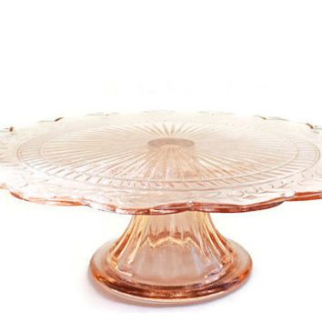 Vintage Cake Plates Stands  sc 1 st  Pinterest & Pink Glass Cake Stand Vintage Round Pedestal Cake Plate Scalloped ...