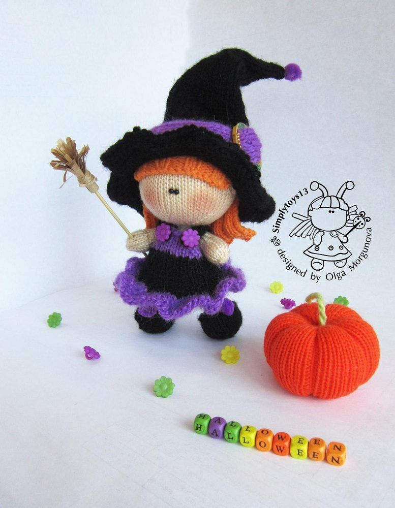 Young Witch doll and Pumpkin knitted flat Knitting pattern ...