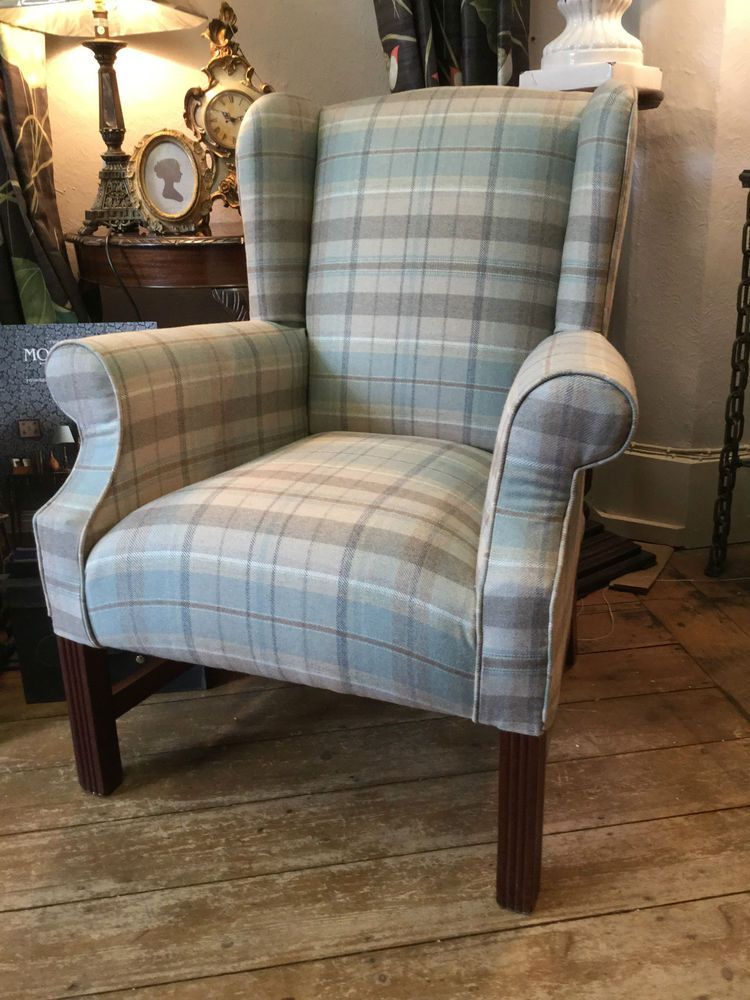 Sandersons fire side wing back chair in finest wool check for Small cream chair