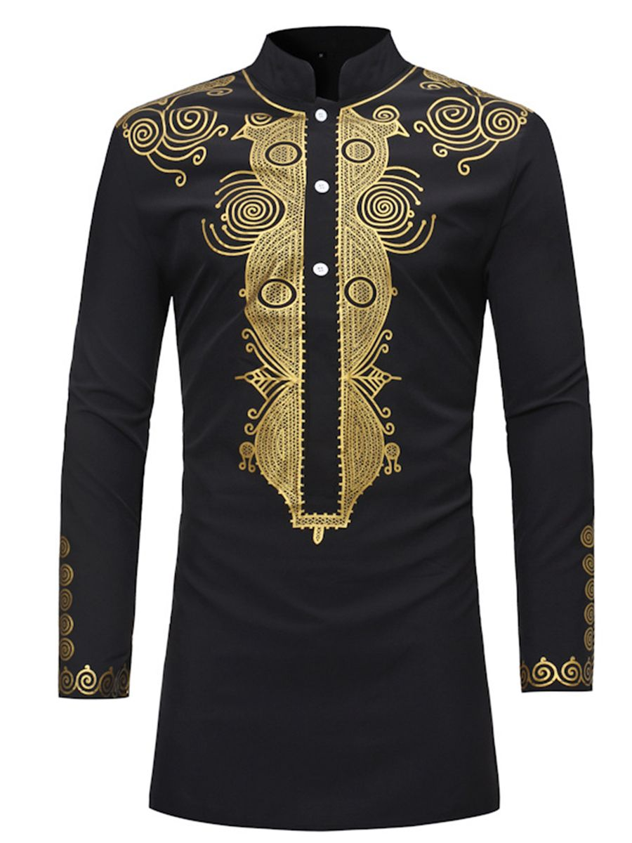 20440a3c Tidebuy African Dashiki Print Stand Collar Mid-Length Men's Shirt Dashiki  Dress, Cheap Mens