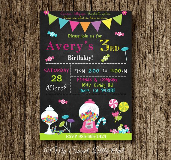 Candy invitation candy land birthday candy printable candy