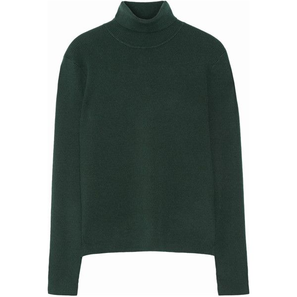 Victoria, Victoria Beckham Wool-blend turtleneck sweater (1.190 BRL) ❤ liked on Polyvore featuring tops, sweaters, victoria beckham, wool-blend sweater, green sweater, green turtleneck sweater, wet look top and layered tops