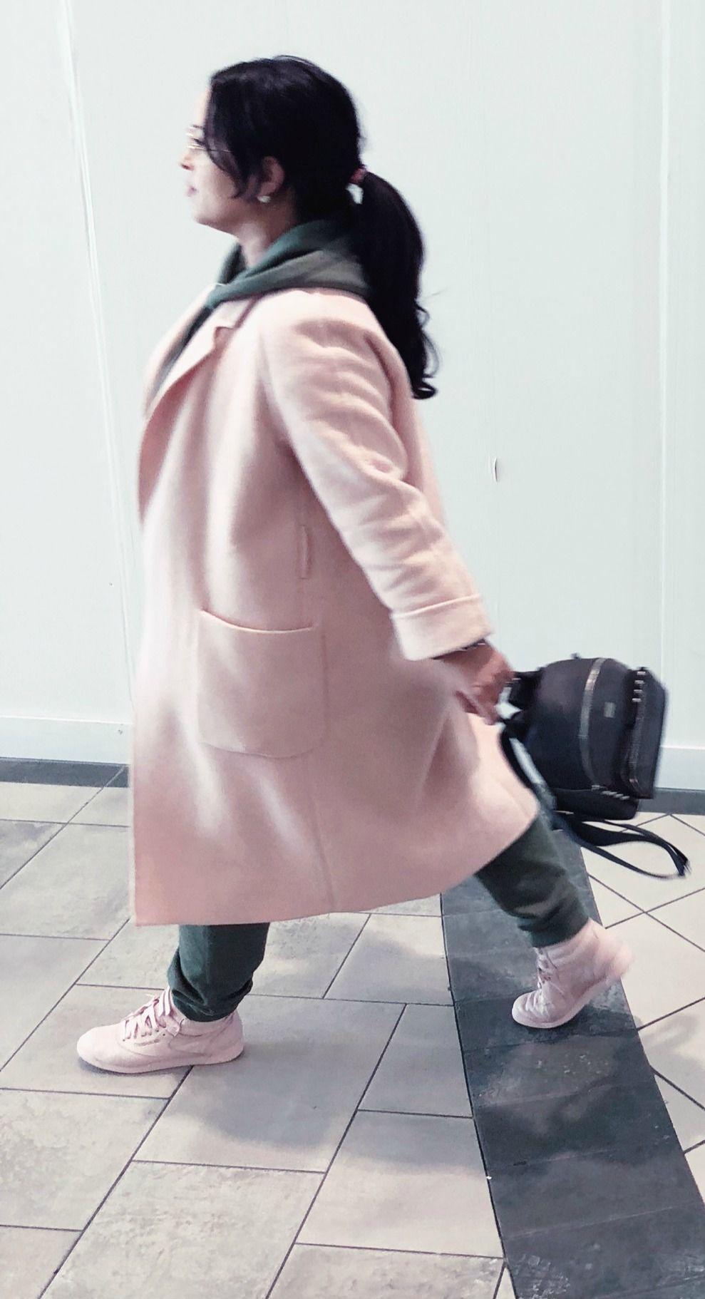 Lisa in the City style  pink coat  Club Monaco  green track suit  zara   backpack  pink runners  trainers  sneakers Rebook  brunette  ponytail  casual  wear  ... 521736b5502b2