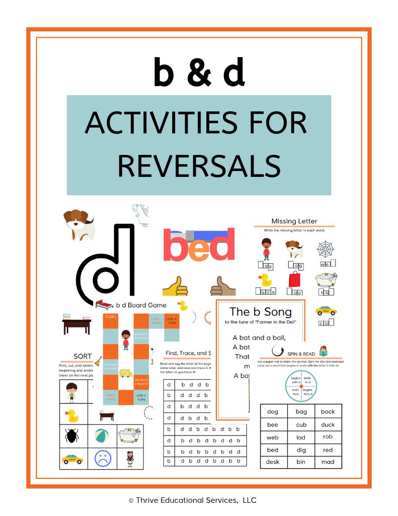 B & D Reversal Activities Orton Gillingham Dyslexia