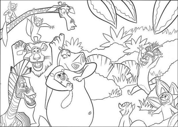 MADAGASCAR coloring pages - Madagascar Party time | kids craft ...