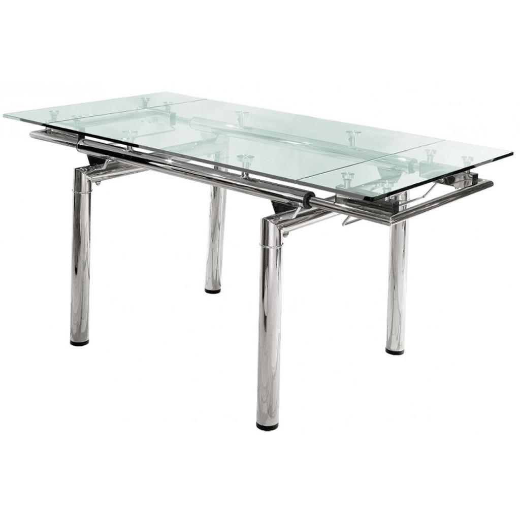 Mesa de comedor extensible vidrio cromada 1 40 x 0 90 a for Mesa de cristal extensible