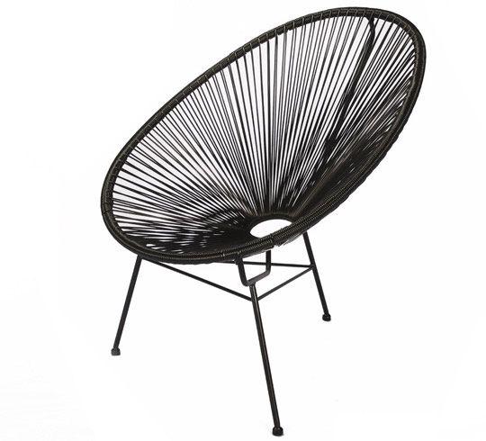 ce fauteuil acapulco noir la fois vintage et compl tement tendance est la star incontournable. Black Bedroom Furniture Sets. Home Design Ideas