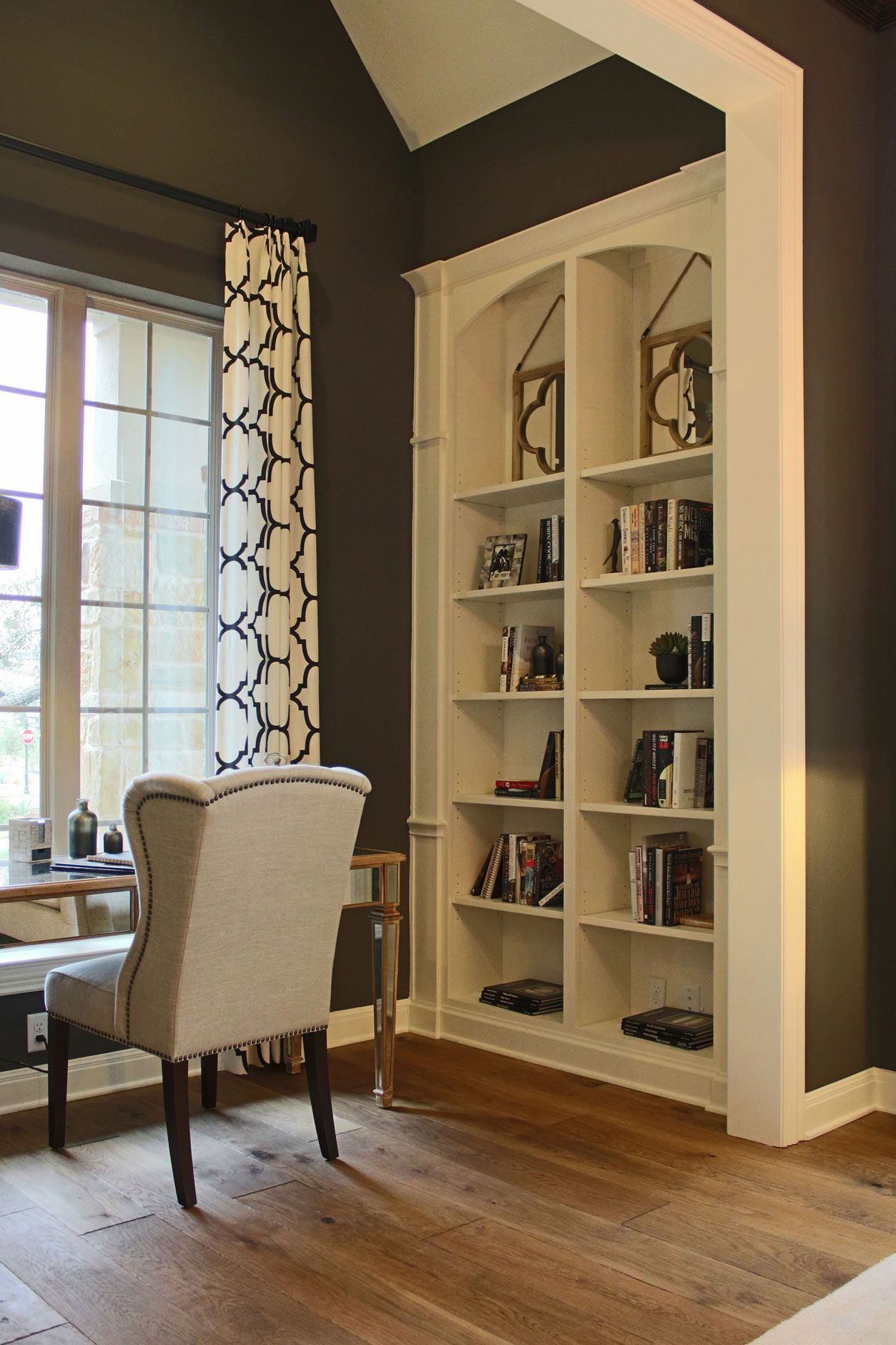 Built In Office Bookshelves With Arched Top In Bone White