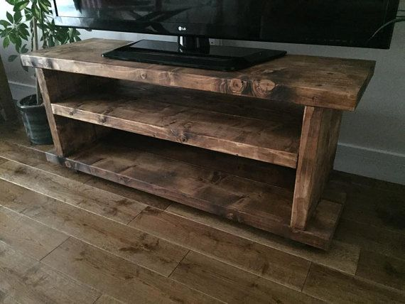 Wooden Tv Unit Rustic Farmhouse Country Style Oak Finished Pine