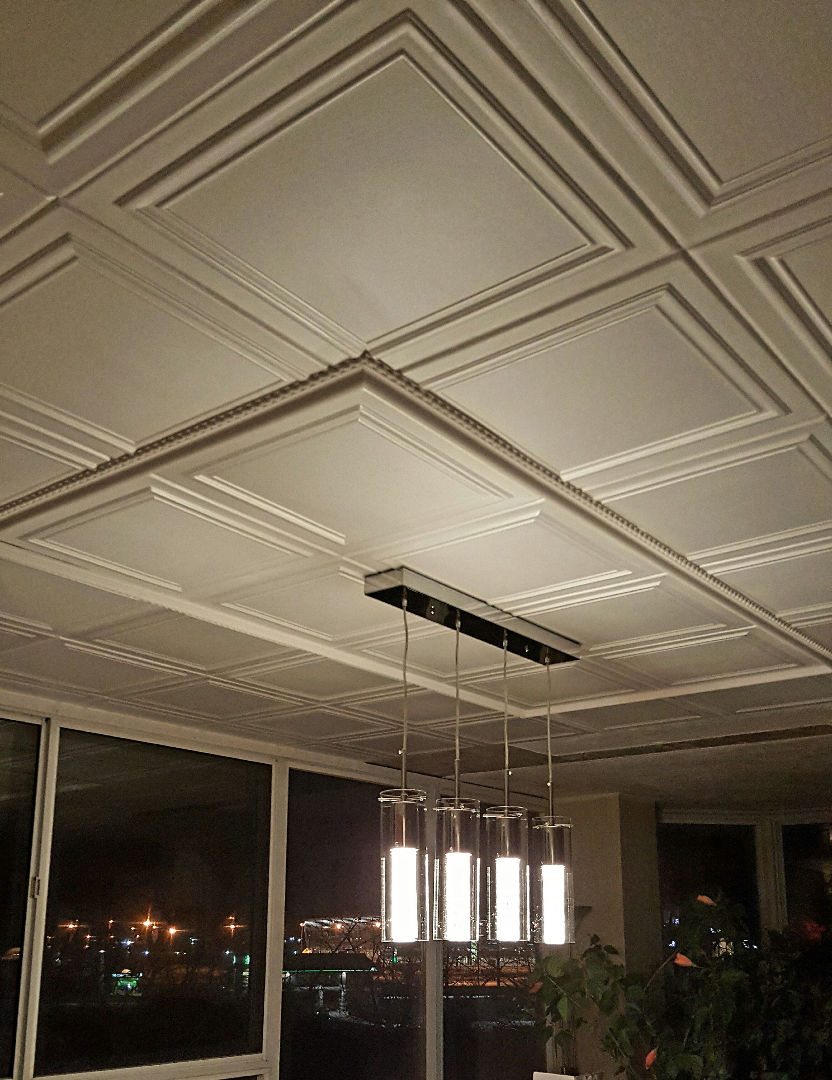A Simple Design That Will Suit Any Room These Styrofoam Ceiling Tiles Can Be Used In Residentia Covering Popcorn Ceiling Styrofoam Ceiling Tiles Ceiling Tiles