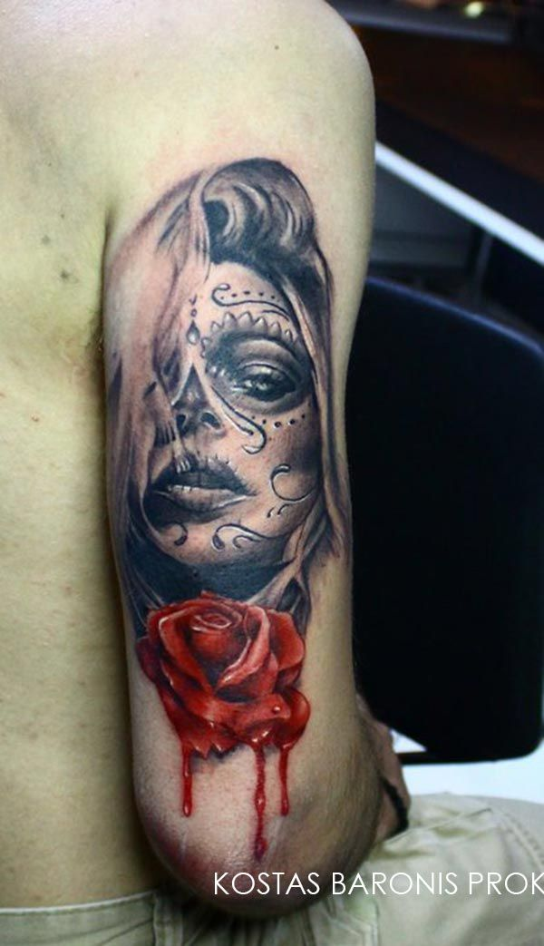 tatouage d une santa muerte avec une rose rouge anthony. Black Bedroom Furniture Sets. Home Design Ideas