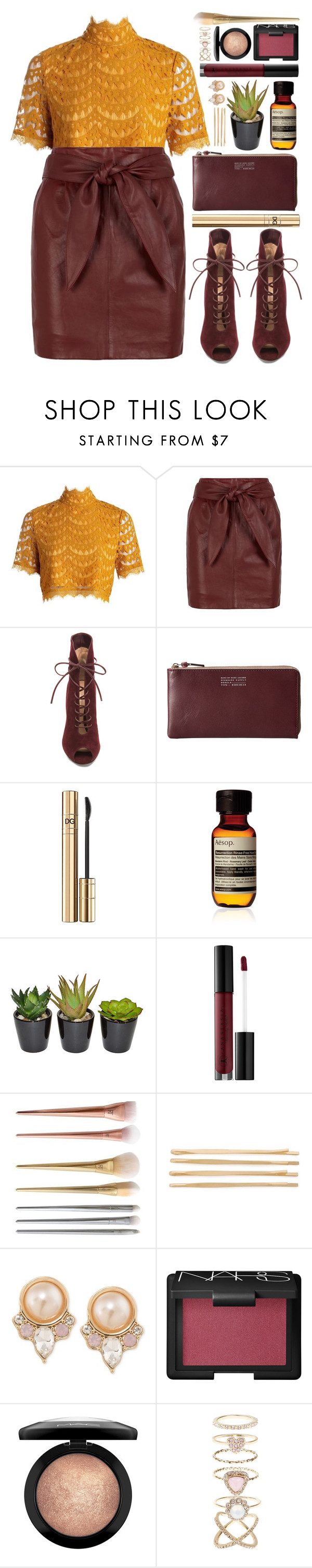 """""""#891 Ophélia"""" by blueberrylexie ❤ liked on Polyvore featuring Boohoo, Reiss, Gianvito Rossi, Marc by Marc Jacobs, D&G, Aesop, The French Bee, Anastasia Beverly Hills, Cara and Carolee"""
