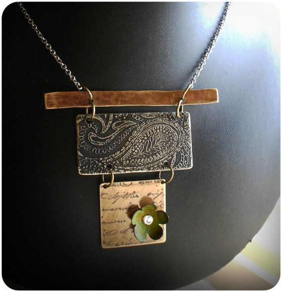 Mixed Metal Etched Necklace by CoccoJewelry on Etsy, $29.50