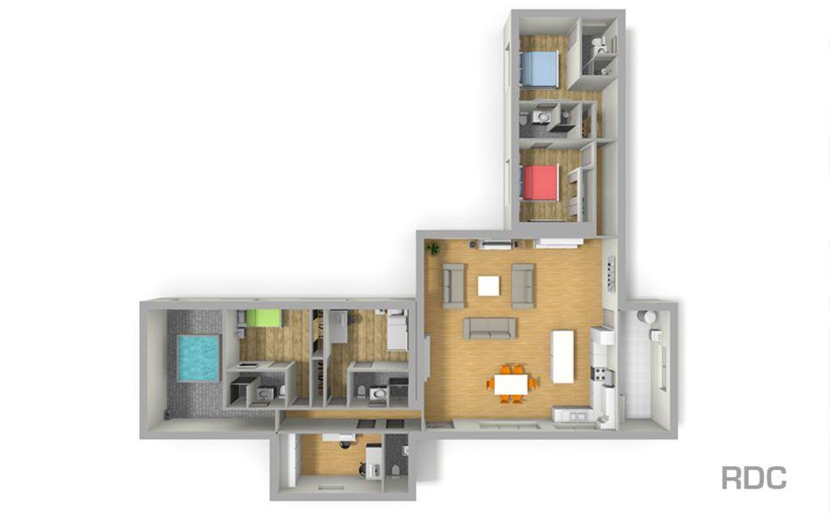 Superbe #Plan De Maison En L Avec Tour Centrale. Réalisation #LesMaisonsAura  Constructeur De Maisons Beau