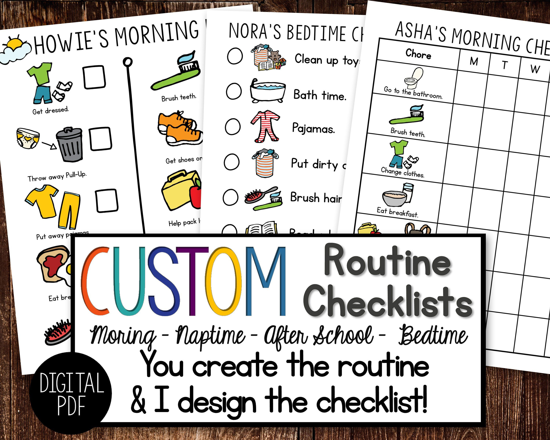 Custom Personalized Routine Checklist Digital
