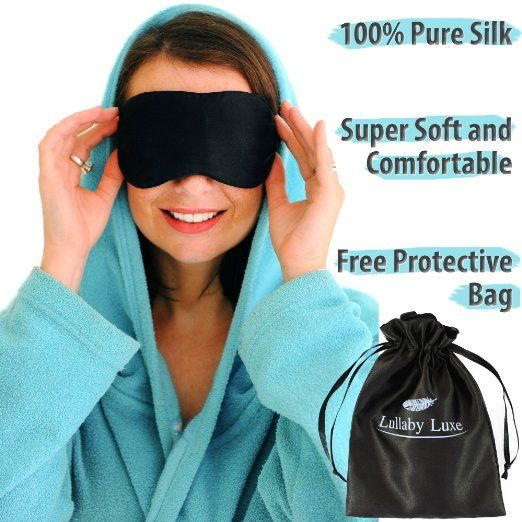 Luxuriously Soft, Hypoallergenic Silk Eye Mask for Women, Men and Kids. Ideal for Sleep, Travel and Relaxation. Black Silk Eye Mask by Lullaby Luxe.
