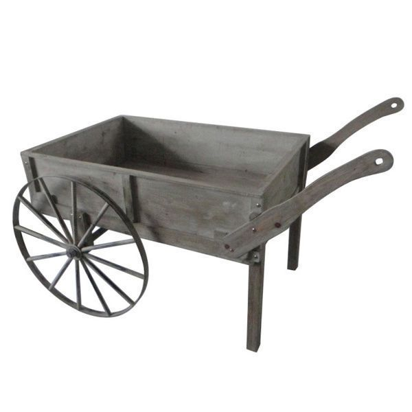 Vintage Garden Cart Wooden Distressed Antique Rustic Flower Box Planter  Wagon
