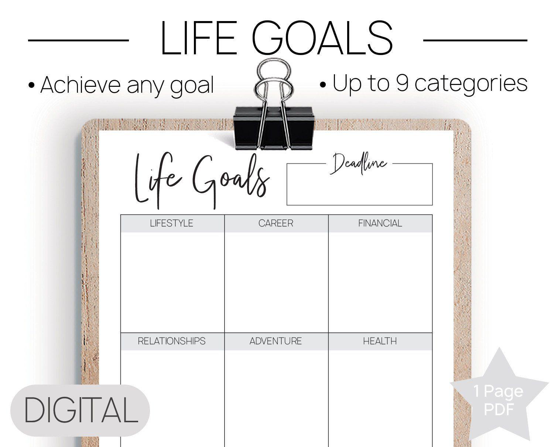 Printable Life Goals Goal Worksheet Life Goals Printable 2019 Goals Personal Goals Goal Setting Pdf Life Goal Printable Goals Worksheet Goals Printable