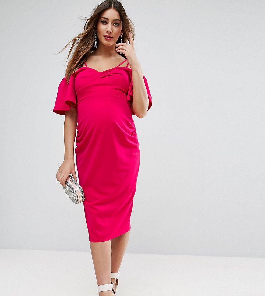 Asos Maternity Midikleid Aus Krepp Mit Verdrehter Vorderseite Und Trompetenarmeln Rosa Jetzt Bestellen Un Modestil Schwangerschaftskleid Kleider Fur Frauen
