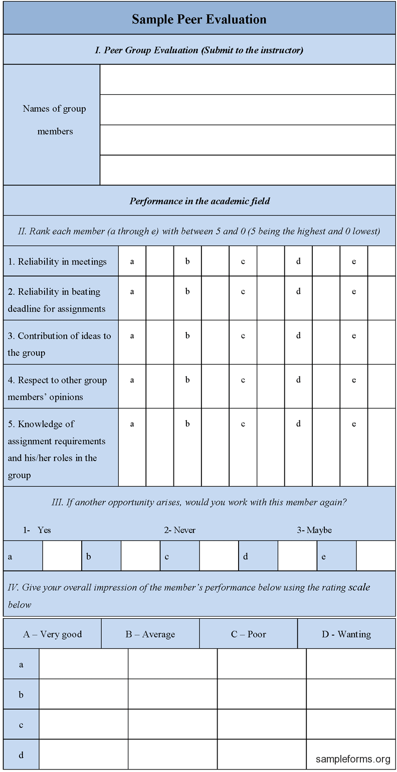 Download Editable Sample Peer Evaluation Form For Only