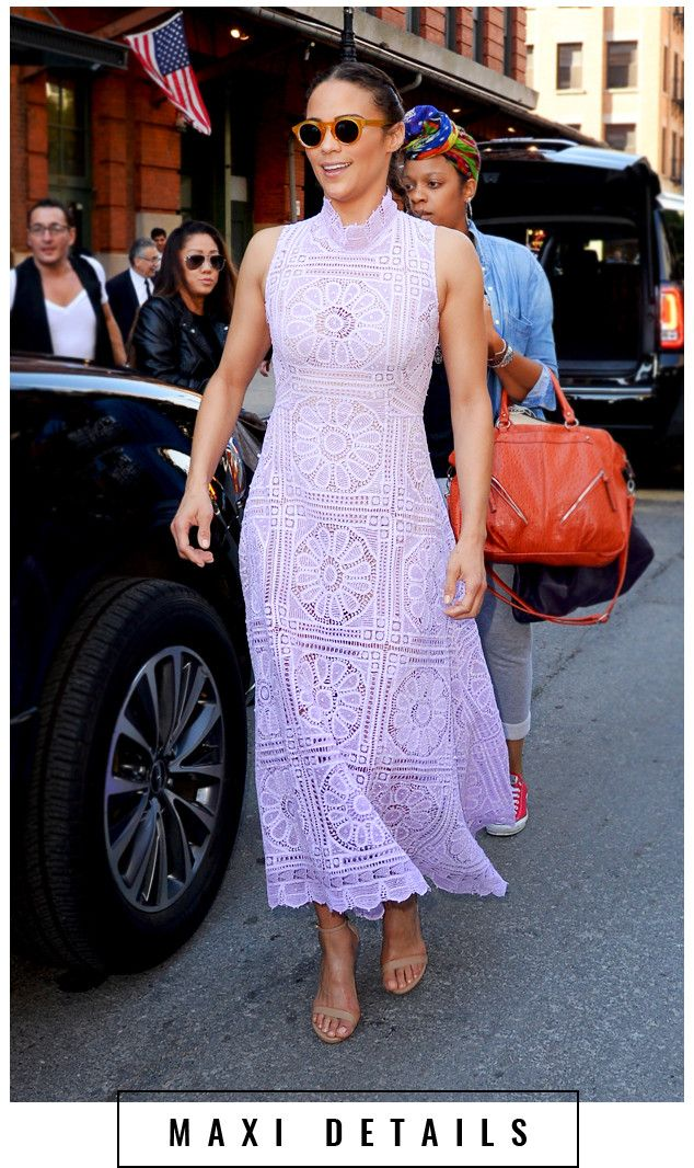 It's all in the details when it comes to Paula Patton's incredible lavender maxi—the high neckline alone is enough to stop traffic.