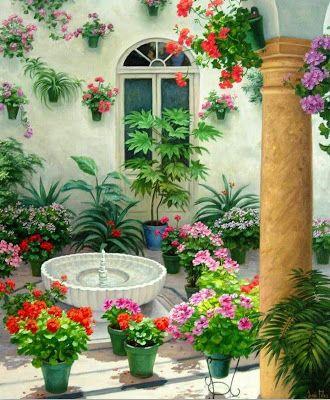 Pin De Hilda Solorio En Pintura Pintura De Jardín Paisajes Flores Paisajes