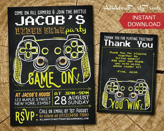 Instant Download Video Game Birthday Party Invitation Printable Free Tha Video Games Birthday Party Video Games Birthday Birthday Party Invitations Printable
