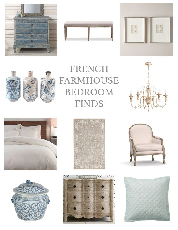 French Farmhouse Inspired Bedroom Finds! French Country Master Bedroom ---> #maisondecinq bedroom masterbedroom masterbedroomdecor interiordecorating homedecorideas frenchcountry frenchfarmhouse countryfrench europeancountry neutraldecor blueandwhite