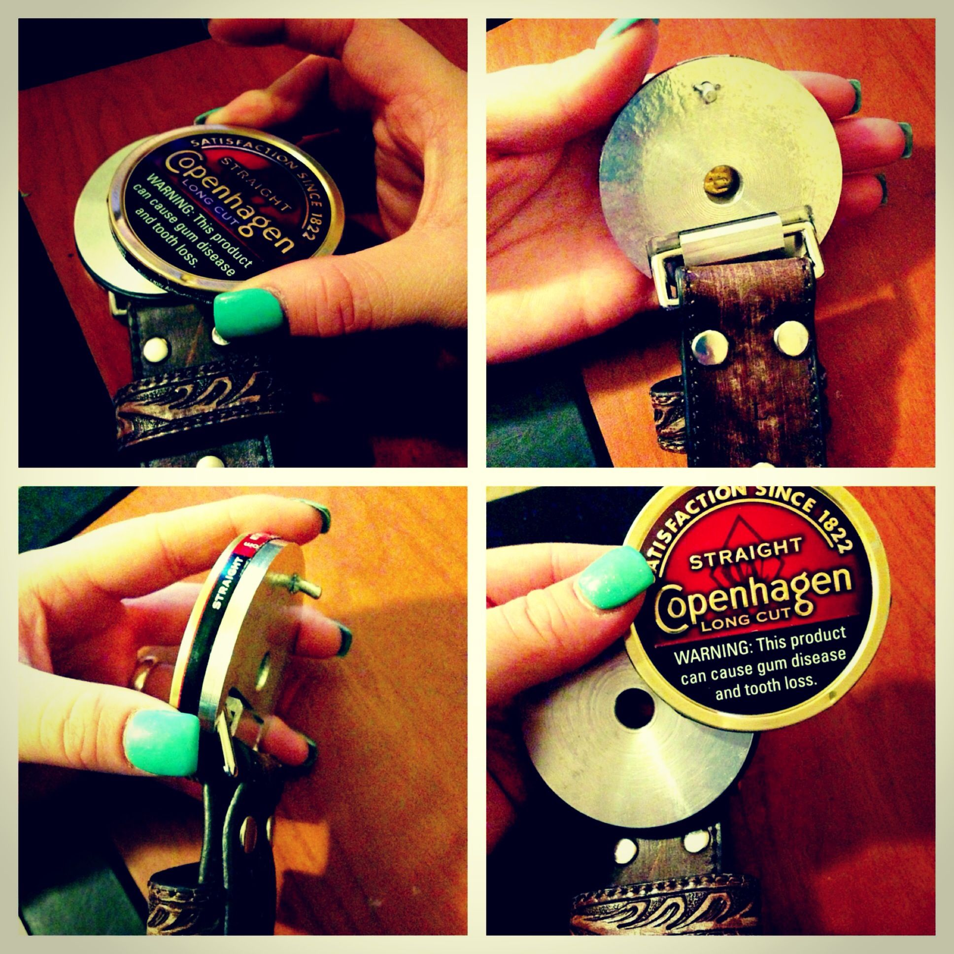 Snuff Buckles! Designed to wear the lids of snuff cans. Change them ...
