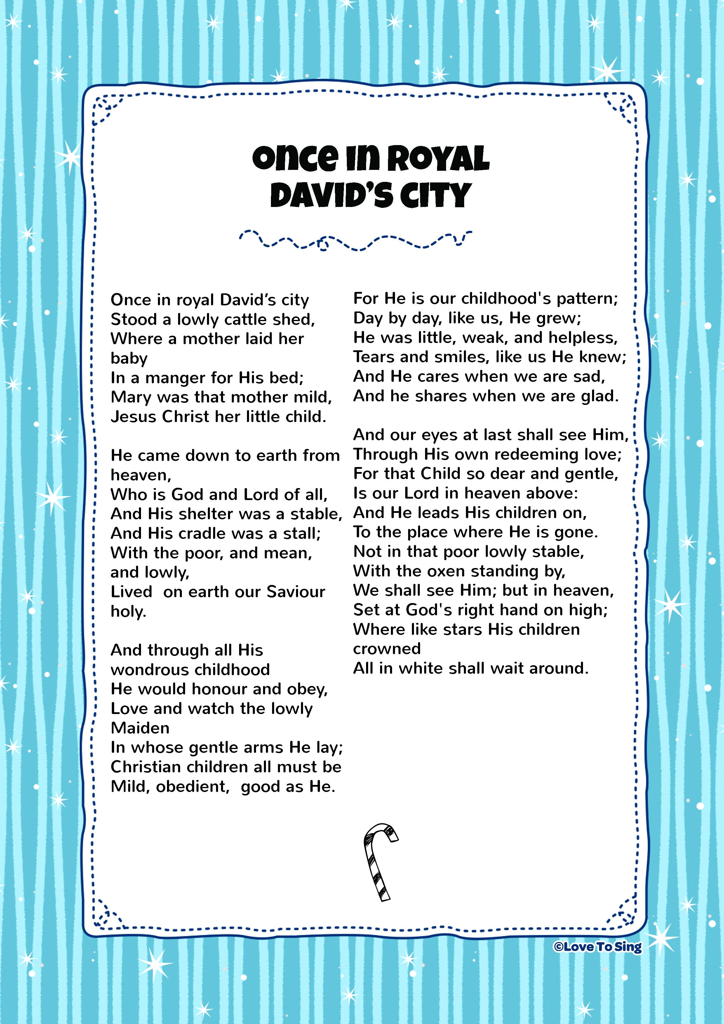 Once In Royal David \'s City | SS Songs | Pinterest | Christmas ...