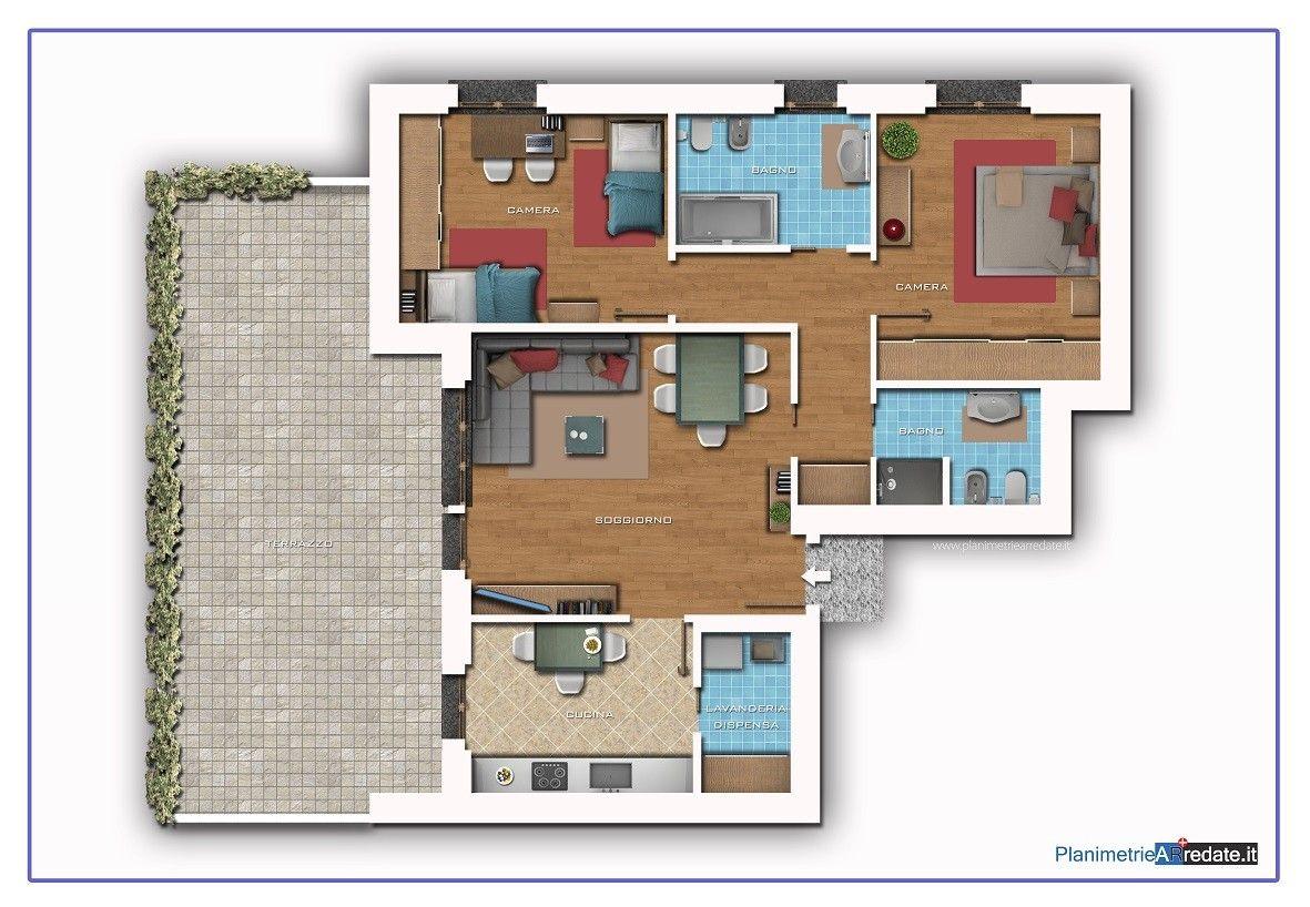 Planimetria arredata con elementi d 39 arredo fotorealistici for Planimetria appartamento