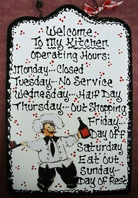 Good 7x11 Fat Chef Kitchen Operating Hours Sign Cucino Bistro Italian Decor  Plaque | EBay