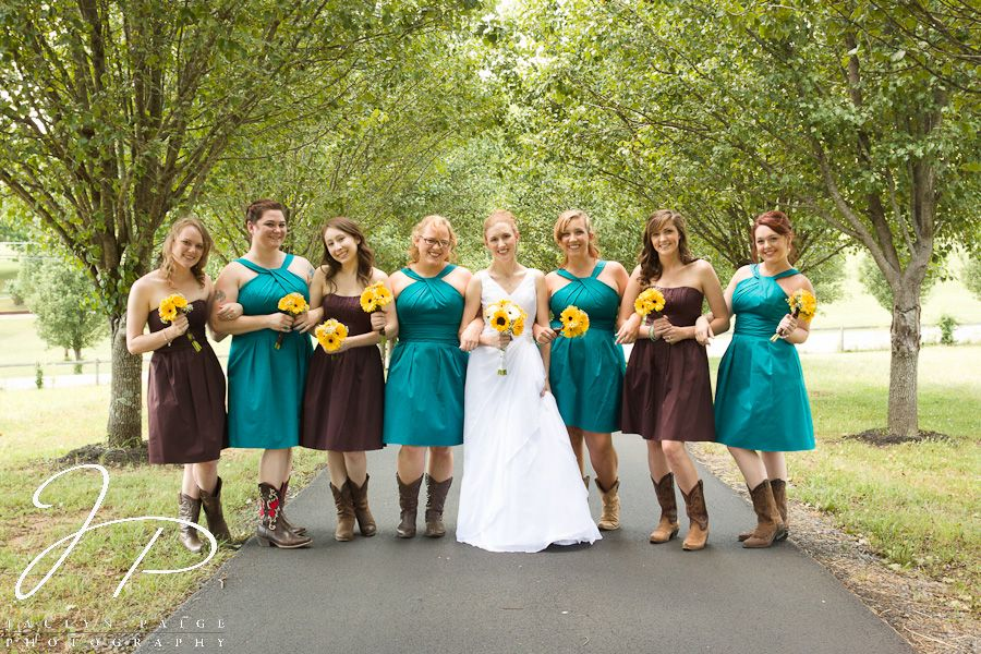Brown And Teal Wedding Ideas: Bridesmaids With Cowboy Boots, Teal And Brown Bridesmaids