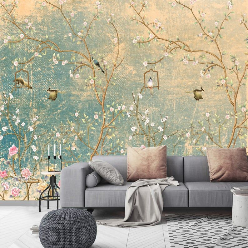 Chinoiserie Wallpaper With Birds Vintage Removable Floral Wallpaper Mural Self Adhesive Temporary Wall Mural Custom Wallpaper Floral Chinoiserie Wallpaper Mural Wallpaper Custom Wallpaper