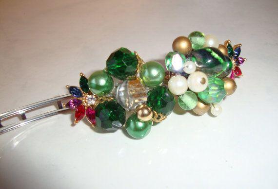Hair Barrette Vintage Jewelry HandmadeGreen by CoastalCreationz