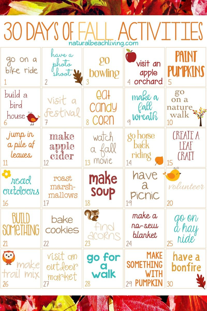 30 Days of Fall Activities for the Whole Family (free printable) #fallactivitiesforkids