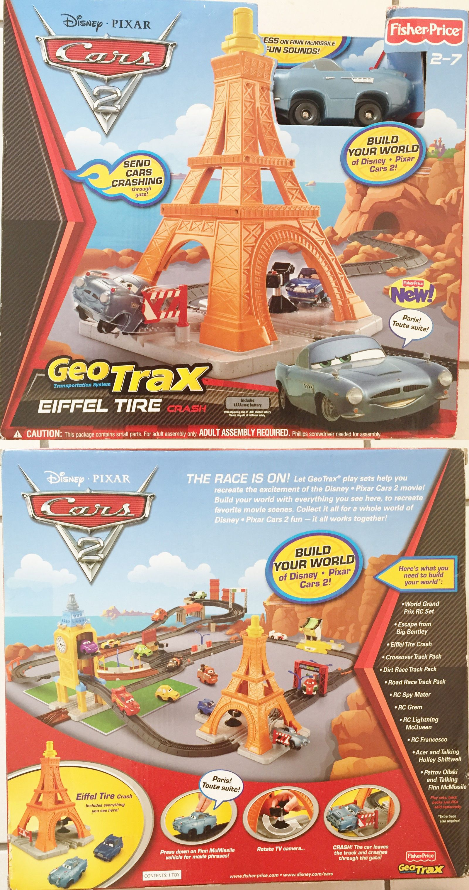 Geotrax 158742 fisher price geotrax disney pixar cars 2 eiffel tire crash 2