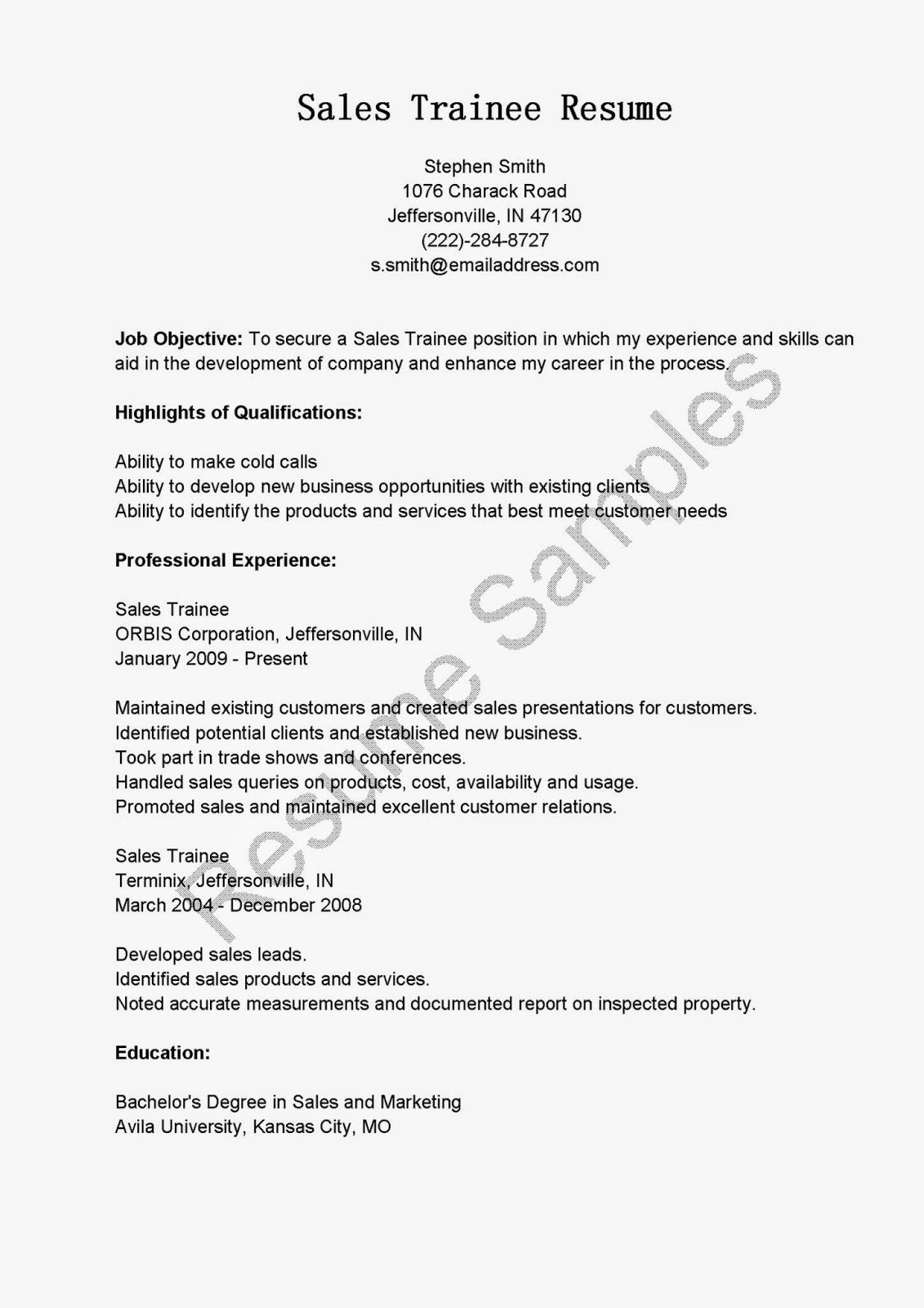 sales trainee resume sample resume samples resame pinterest